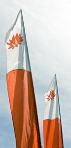 Orange-and-white Lotus banners