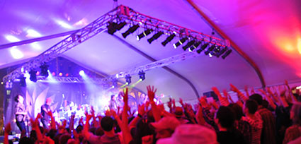Festival tent crowd