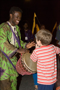 Drummer and child