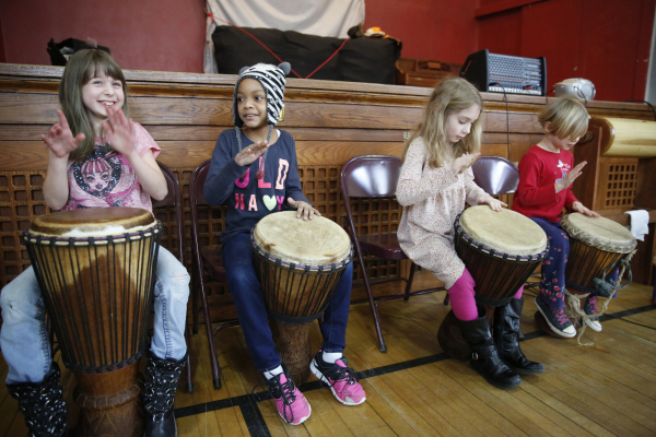adorable children drumming