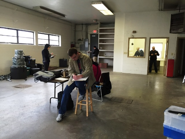 Architectural Design 1 students get started with interior measurements. Ivy Tech, Spring 2016.