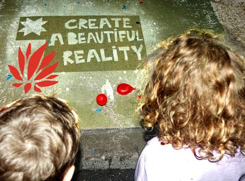 """Create a Beautiful Reality"" Rainworks sidewalk art at the 2016 Lotus World Music & Arts Festival. Photo by Michael Redman."