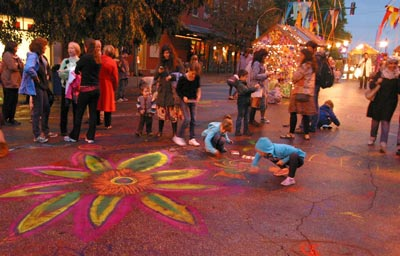 Chalk art in the Lotus Arts Village