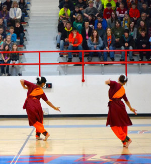 Members of the Kalapriya Indian dance ensemble perform at Eminence Schools in southern Indiana. Photo by Josh Perry.