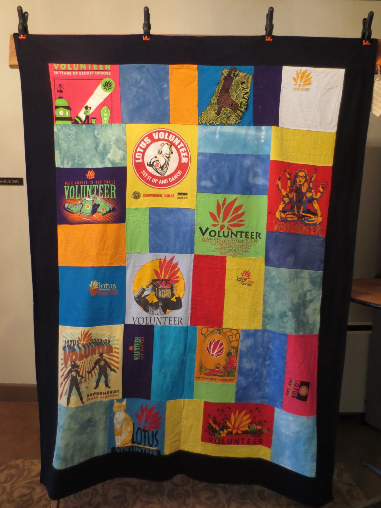 A full view of the volunteer t-shirt quilt.